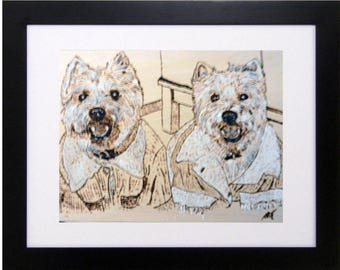 Custom hand drawn, wood burning art, pyrography sketch of your Pet from your photo.  Unframed.