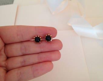 Black and Gold Earrings - Stud Earrings - Small Earrings - Small Stud Earrings - New Years Eve Jewelry - Costume Jewelry - Costume Jewellery