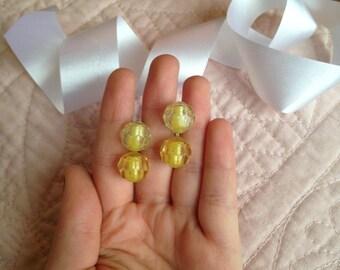 Yellow Clip on Earrings - Clip on Earrings - 1940s Earrings - 40s Jewelry - 1940s - Forties - Beaded Earrings - Clip Earrings - Vintage Gift