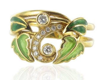 Enamel diamond ring yellow gold