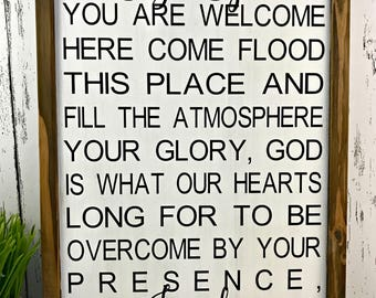Holy Spirit You Are Welcome Here Sign - Farmhouse Sign - Bible Verse Sign - Scripture Verse Sign - Farmhouse Decor - Christian Sign
