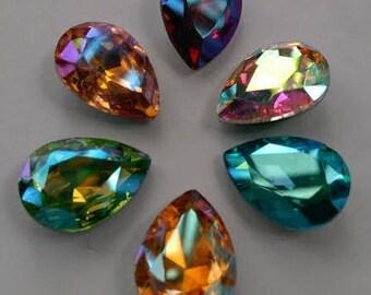 AB series Tear Drop pointed back glass rhinestone crystal beads gemstones stones