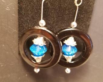 Lucky strike; blue,black and silver earrings