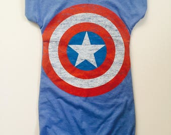 Upcycled captain america  tshirt romper- custom romper-custom clothing- romper tee- jersey romper - w/ roll up shorts