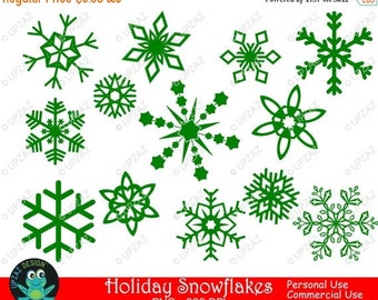 75% OFF SALE Green Snowflake Clipart, Commercial Use - UZ834
