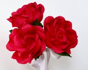 Three Paper Rose Bouquet