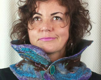 HANDMADE nuno felt scarf, felted wrap in blue, turquoise, pink and brown with enamel buttons on both sides, made on silk