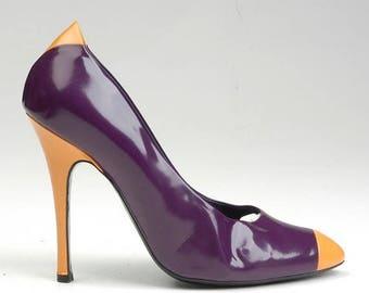 SALE sz 39 1990s Marc Jacobs Designer 90s Stilettos Two Toned Purple Yellow Patent Leather Marc Jacobs High Heels Designer 39 Italy
