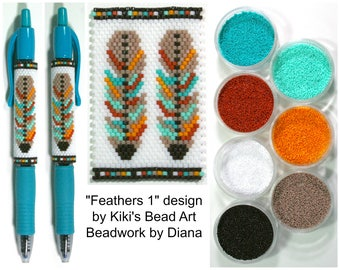 Feathers 1 by Kiki's Bead Art beaded pen kit (pattern sold separately)