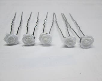 5 hair pins, white satin rose hair clip for wedding set of 5