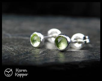 August birthstone earrings - Natural green peridot gemstone rose cut cabochon, 4mm, in a sterling silver bezel, Ready to ship. 173