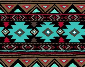 """Fleece Fabric Native American Turquoise 60"""" Wide Style AA 46374-2"""