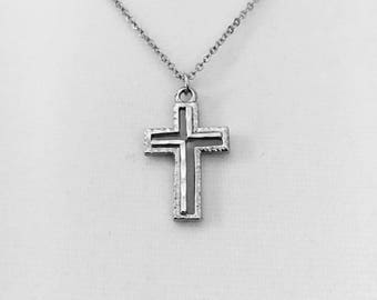 "Vintage 3D cross, rhodium plated cross, unique retro cross, layering necklace, 1"" lg cross on an 18"" long silver link chain"