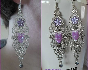 Purple OWL cabochon earrings
