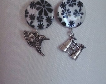 1 pair of silver Hummingbird earrings