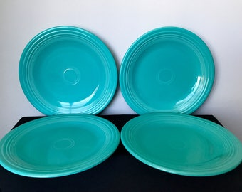 Set of 4 Post-1986 (Contemporary) Turquoise Fiestaware Dinner Plates
