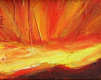 Rays of Sunlight Red Sky I, original acrylic painting on canvas, 7 x 5
