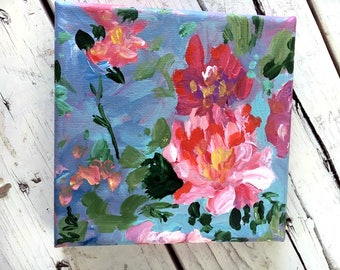 Vintage Inspired Floral Painting- flower acrylic on canvas, small giftable art!