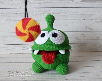 Funny Toy Amigurumi Om Nom Cut The Rope Plush Om Nom Crochet Om Nom Baby Shower Gift Crochet Om Nom Toy Birthday Gift Plush Toy Stuffed Toy