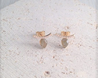 Marble Studs,Olive Marble Studs,Olive Marble Minimalist,Minimalist Studs,Olive Stone Studs,Olive Marble Earring,Marble Horn Studs