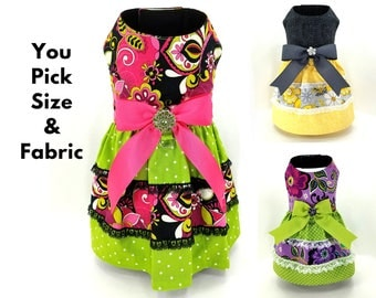 Dog Dress with removable bow - Harness dress - XX Small to 2X Large - You pick size and fabric - CUSTOM ORDER