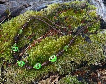 Green skulls bracelet ~ handmade & OOAK