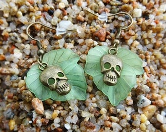 Smiling Skulls and Leafs Earrings ~ Collected, combined and connected with love :)