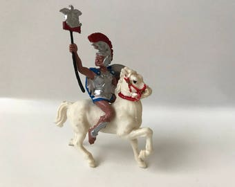 1960's Britains Toy Soldiers Herald Trojan Commander on White Horse