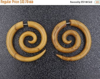 on sale Classic Spirals Fake Gauges, Recycled Wood Earrings, Free Shipping