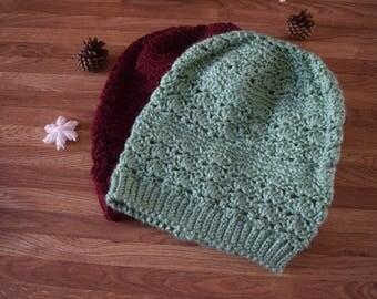 Shelly slouchy crochet beanie/ winter hat/ slouchy hat