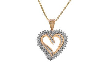 0.50 Carat Diamond Heart Pendant 10k Yellow Gold With 14K Yellow Gold Chain