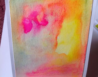 Abstract Pink And Yellow Painted Postcard