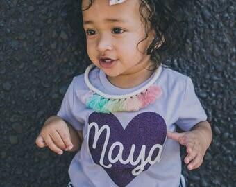 Customized name shirt - custom heart with name shirt - name shirt -custom girls shirt