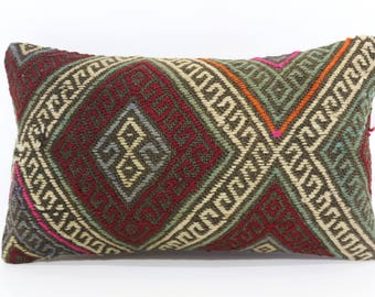 12x20 Lumbar Embroidered Kilim Pillow Sofa Pillow Naturel Kilim Pillow Sofa Pillow Home Decor Cushion Cover  SP3050-1004