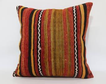 Decorative Kilim Pillow 24x24 Kilim Pillow Sofa Pillow Turkish Kilim Pillow Anatolian Kilim Pillow Handmade Turkish Pillow SP6060-1288