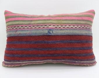16x24 Kilim Pillow Striped Pillow 16x24 Pink Striped Pillow Red Kilim Pillow Multicolor Pillow Throw Pillow Cushion Cover SP4060-1286