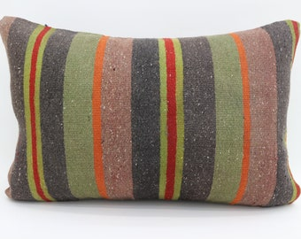16x24 Kilim Pillow Covers Striped Pillow Multicolor Kilim Pillow 16x24 Pillows Sofa  Pillow Boho Pillow Throw Pillow Red Pillow  SP4060-1440