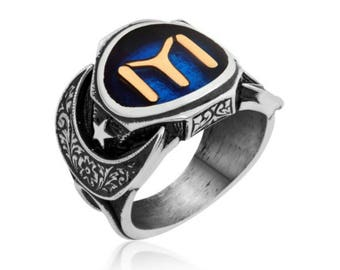 Ring Signet Ring in Sterling Silver 925 Moon Star glass blue Men Silver Ring