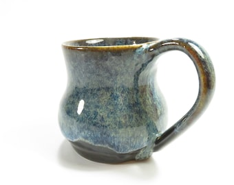 Handmade Pottery Coffee Mug, Pottery Mugs, Blue Coffee Mug, wheel thrown pottery, 8 ounce mug, Small Coffee Mug