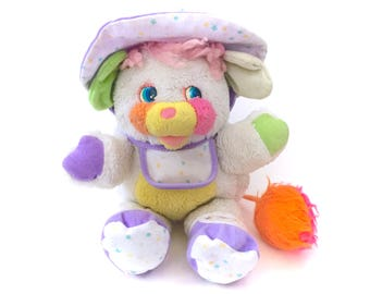 Vintage Popples Baby Bibsy Plush Complete Bonnet Booties Bib Purple Plushie Stuffed Puffball 80s Retro Mattel Original Kawaii Fairy Kei CUTE