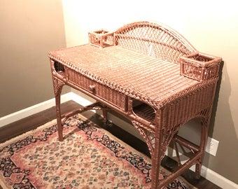 Vintage wicker desk chair Etsy