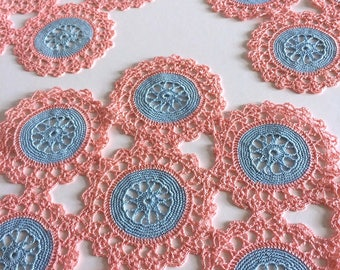 Pretty Vintage Pink & Blue Crocheted Set of Three Dressing Table Mats