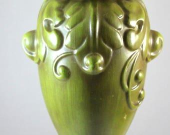 ON SALE NOW Vintage Haeger Art Pottery Ornate Olive Green Matte Finish Vase