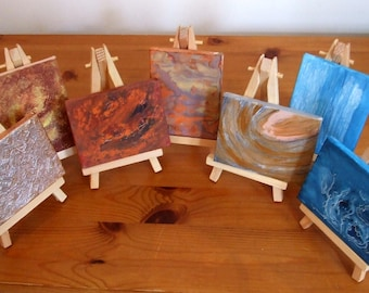 The Planets- set of miniatures, acrylics on canvases. Solar System art.