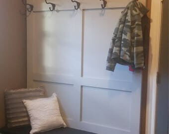 Rustic Hall Tree with Bench and Coat Rack Hooks Custom Entryway Mudroom Storage with Cubbies