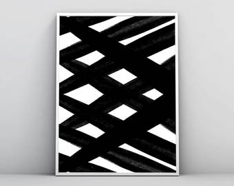 Abstract Wall Art, Black & White Art, Painting, Geometric Print, Scandinavian Poster, Modern Minimal Decor, Abstract Lines, Digital Download
