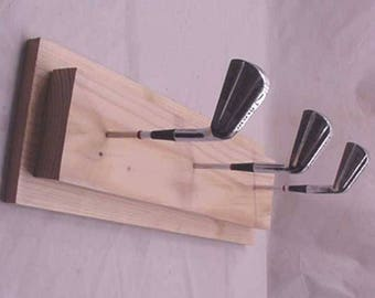 "FOLK TRAMP ART Man Cave Golf Club Coat Rack 24"" wide #16"