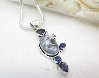 Dendritic Agate Amethyst and Blue Topaz Sterling Silver Pendant and Chain
