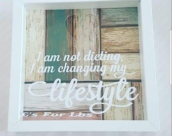 Money box framepound for pound money box frame, weight loss savings, diet fund, I'm not dieting I'm changing my lifestyle money box frame