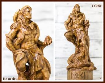 Wooden, Loki, Norse god, scandinavian god, handmade, Allfather, viking god, asatru, heathen, pagan